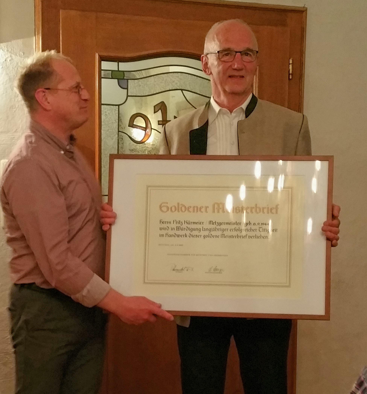 Goldener Meisterbrief für Fritz Kürmeier